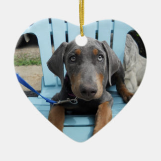 青いドーベルマン犬の目 セラミックオーナメント
