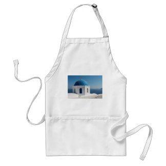 青いドーム、Santoriniが付いている白い教会 スタンダードエプロン