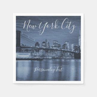 青いニューヨークシティは文字を個人化します スタンダードカクテルナプキン