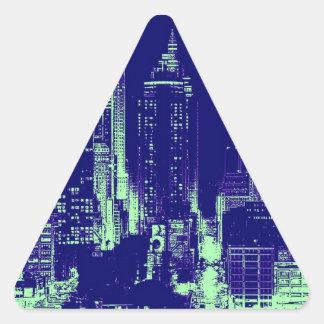 青いニューヨークシティ 三角形シール