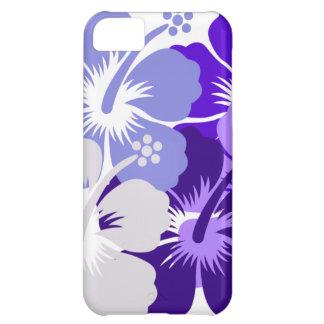 青いハイビスカスのデザインの陰 iPhone5Cケース