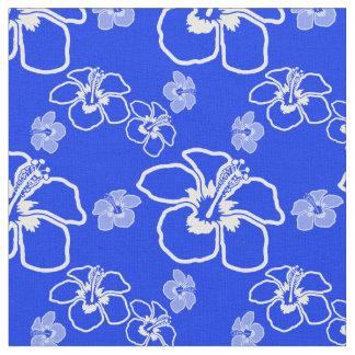 青いハイビスカスのハワイアン ファブリック