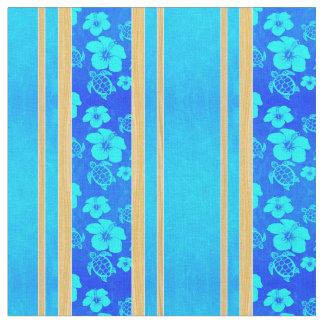 青いハイビスカスのハワイアンHonu ファブリック