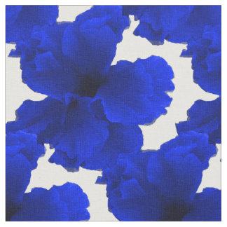 青いハイビスカスの花柄 ファブリック