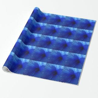 青いハイビスカスの花 ラッピングペーパー