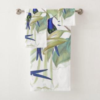 青いハチドリの鳥の花のBathタオルセット バスタオルセット