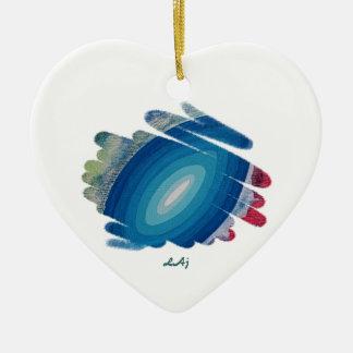 青いハートのオーナメントのラプソディ 陶器製ハート型オーナメント