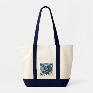 青いハートのキャンバスのポケットトートバック トートバッグ