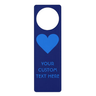 青いハートのバレンタインのカスタムなドア・ハンガー ドアノブプレート