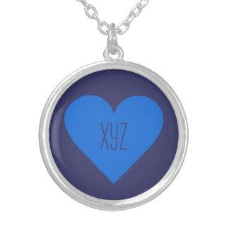 青いハートのバレンタインのカスタムのネックレス シルバープレートネックレス