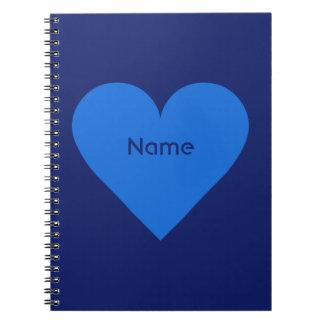 青いハートのバレンタインのカスタムのノート ノートブック