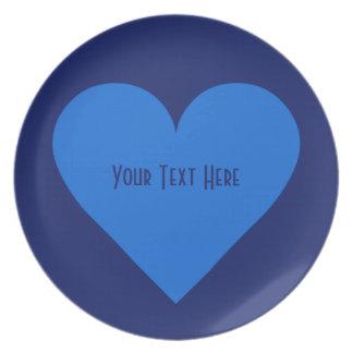 青いハートのバレンタインのカスタムのプレート プレート