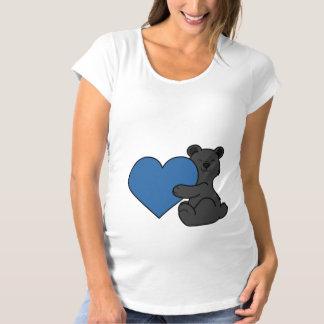 青いハートのバレンタインデーのかわいいツキノワグマ マタニティTシャツ