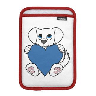 青いハートのバレンタインデーのかわいく白い犬 iPad MINIスリーブ