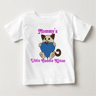 青いハートのバレンタインデーのシャム猫 ベビーTシャツ