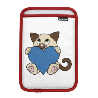 青いハートのバレンタインデーのシャム猫 iPad MINIスリーブ