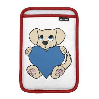 青いハートのバレンタインデーのタンの小犬 iPad MINIスリーブ