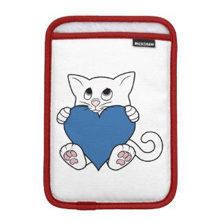 青いハートのバレンタインデーの白い猫 iPad MINIスリーブ