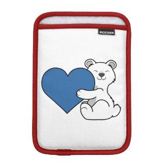 青いハートのバレンタインデーの白くま iPad MINIスリーブ