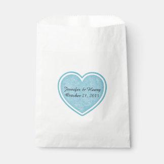 青いハートの結婚式の引き出物のバッグ フェイバーバッグ