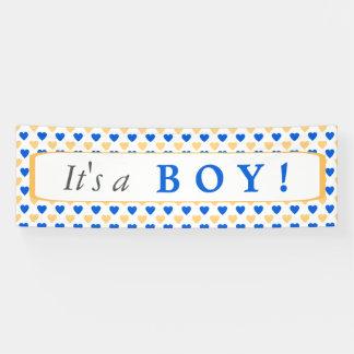 青いハートパターンそれは男の子です 横断幕