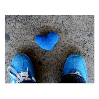 青いハート愛 ポストカード