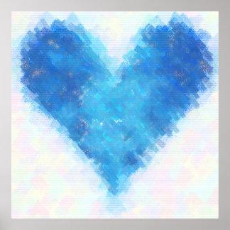 青いハート プリント