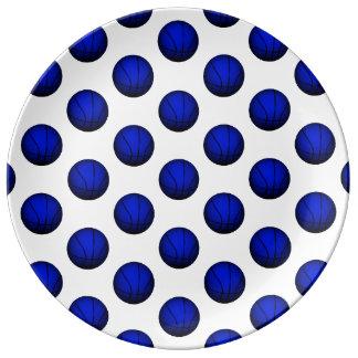 青いバスケットボールパターン 磁器プレート