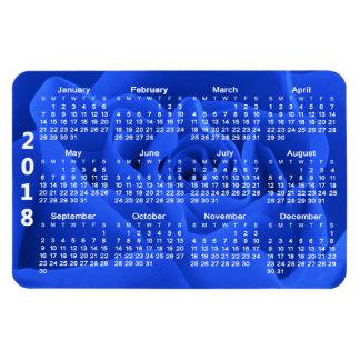 青いバラの花びら2018のカレンダー マグネット