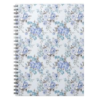青いバラ色の花模様のノート ノートブック
