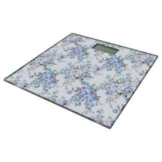 青いバラ色の花模様の体重計 体重計