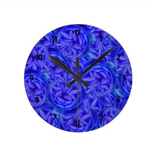 青いバラ ラウンド壁時計