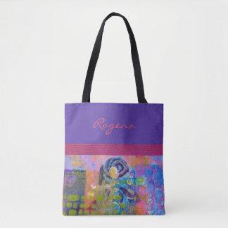 青いバラ-紫色及びピンク-ハンドバッグ/トート トートバッグ