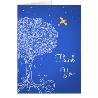 青いバルミツワー華美な生命の樹は感謝していしています カード