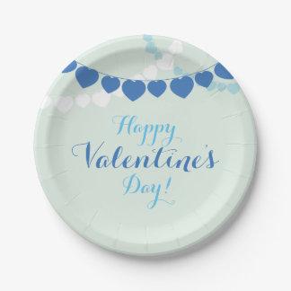 青いバレンタインデーの紙皿 ペーパープレート