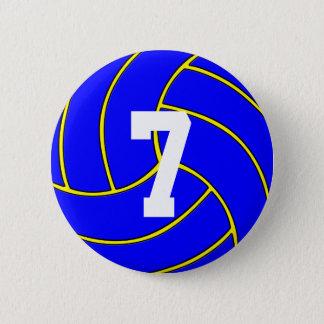 青いバレーボールのカスタムな色及びジャージー数Pin 缶バッジ