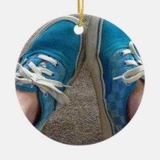 青いバンの靴 セラミックオーナメント