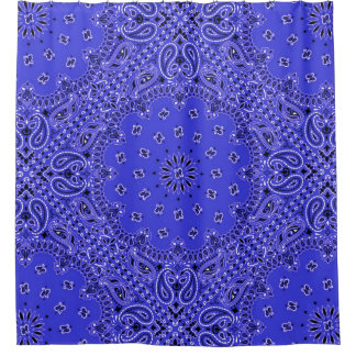 青いバンダナのペイズリーのBohoのヒッピーの魅力の国 シャワーカーテン