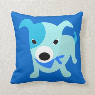 青いバンダナの子犬 クッション