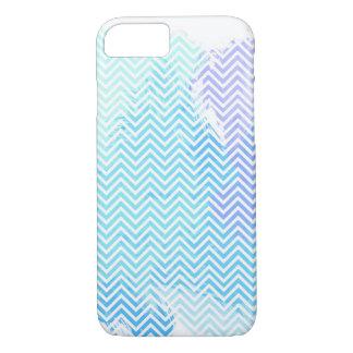 青いパステル調の水彩画のシェブロンのiPhone 7の箱 iPhone 8/7ケース