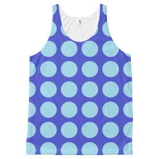 青いパステル調の青い水玉模様 オールオーバープリントタンクトップ