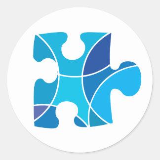 青いパズルの部分 ラウンドシール