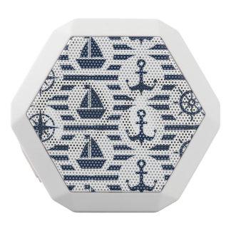 青いパターンで海上 ホワイトBluetoothスピーカー