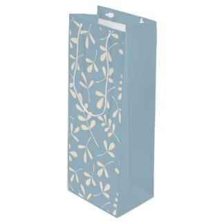 青いパターンの分類された葉のクリーム ワインギフトバッグ