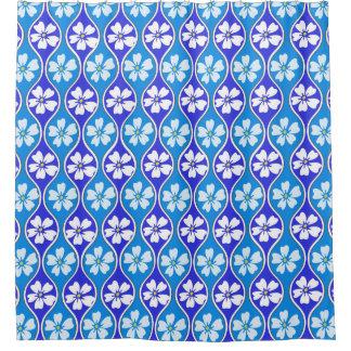 青いパターンの東洋の刺激を受けたな桜 シャワーカーテン