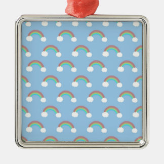 青いパターンの虹 シルバーカラー正方形オーナメント