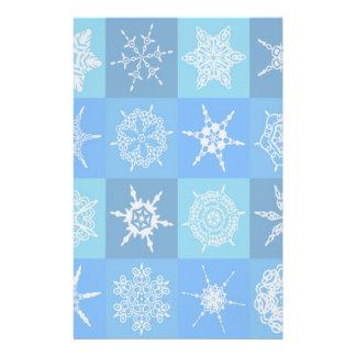 青いパターンの雪片 便箋