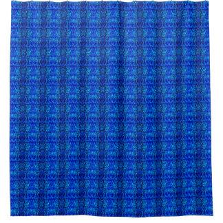 青いパターン(の模様が)ある シャワーカーテン