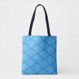 青いパターン トートバッグ
