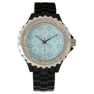 青いパターン 腕時計
